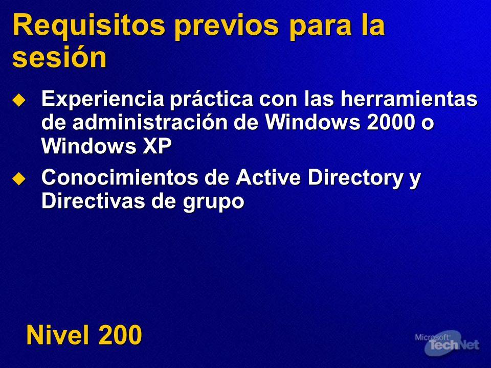 Requisitos previos para la sesión Experiencia práctica con las herramientas de administración de Windows 2000 o Windows XP Experiencia práctica con la