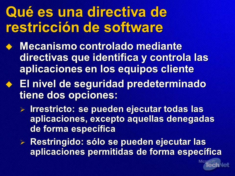 Qué es una directiva de restricción de software Mecanismo controlado mediante directivas que identifica y controla las aplicaciones en los equipos cli