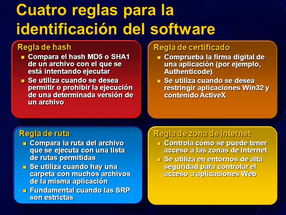 Cuatro reglas para la identificación del software Regla de ruta Compara la ruta del archivo que se ejecuta con una lista de rutas permitidas Compara l