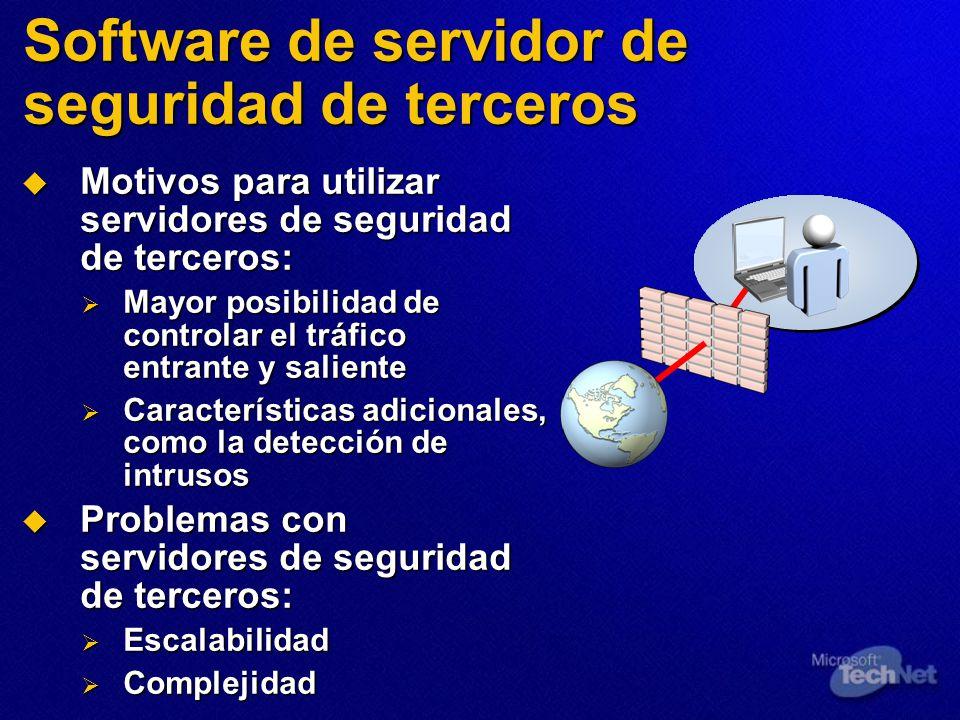 Software de servidor de seguridad de terceros Motivos para utilizar servidores de seguridad de terceros: Motivos para utilizar servidores de seguridad