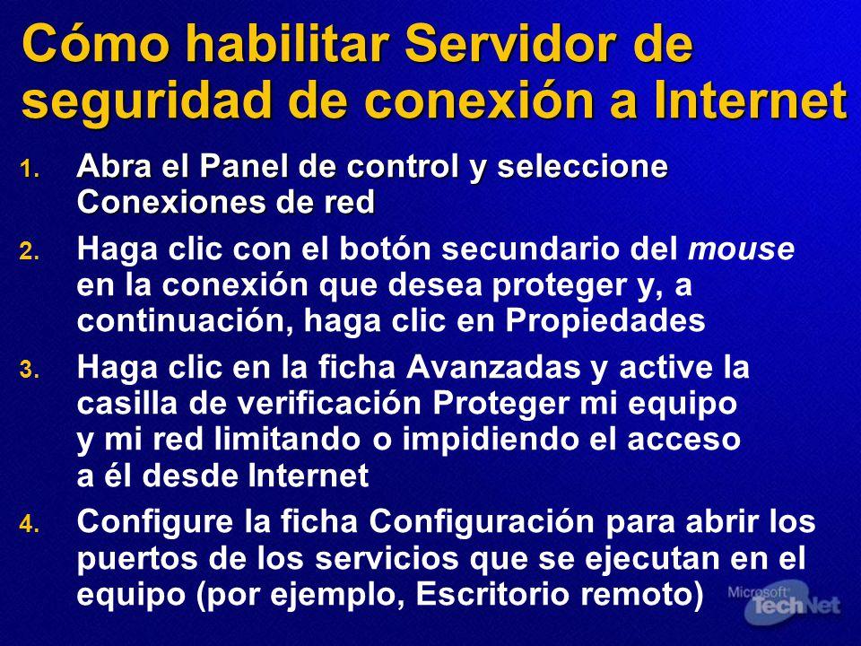 Cómo habilitar Servidor de seguridad de conexión a Internet 1. Abra el Panel de control y seleccione Conexiones de red 2. 2. Haga clic con el botón se