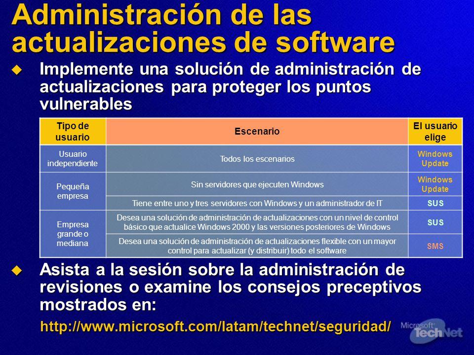 Administración de las actualizaciones de software Implemente una solución de administración de actualizaciones para proteger los puntos vulnerables Im
