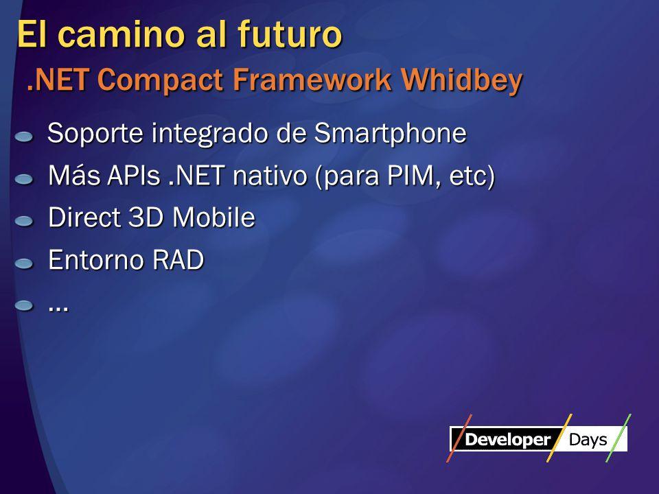 El camino al futuro.NET Compact Framework Whidbey Soporte integrado de Smartphone Más APIs.NET nativo (para PIM, etc) Direct 3D Mobile Entorno RAD …