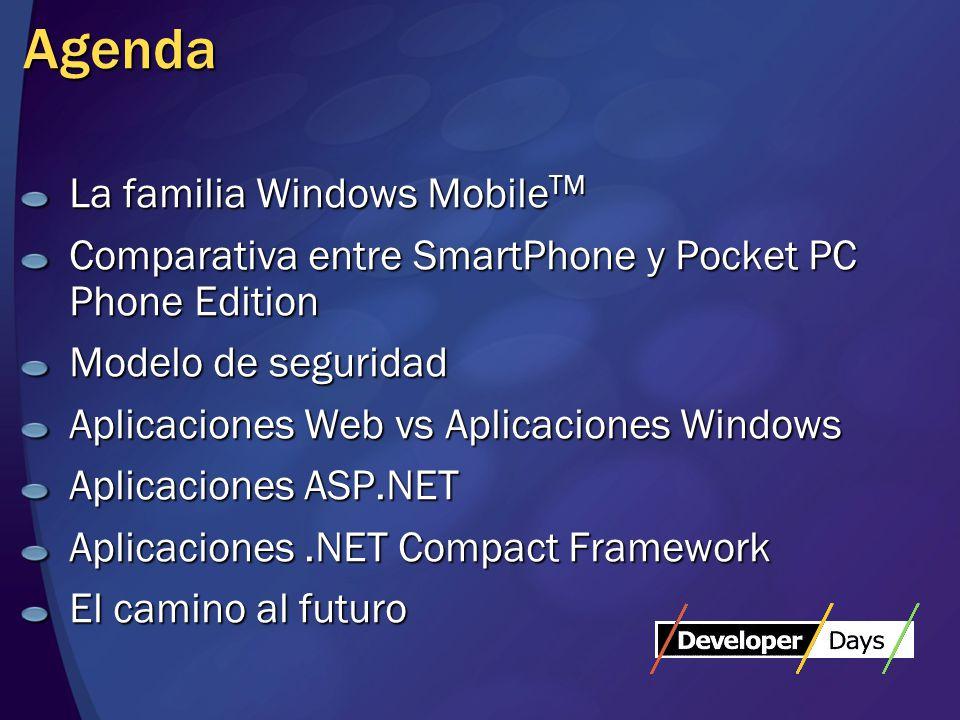 Agenda La familia Windows Mobile TM Comparativa entre SmartPhone y Pocket PC Phone Edition Modelo de seguridad Aplicaciones Web vs Aplicaciones Windows Aplicaciones ASP.NET Aplicaciones.NET Compact Framework El camino al futuro