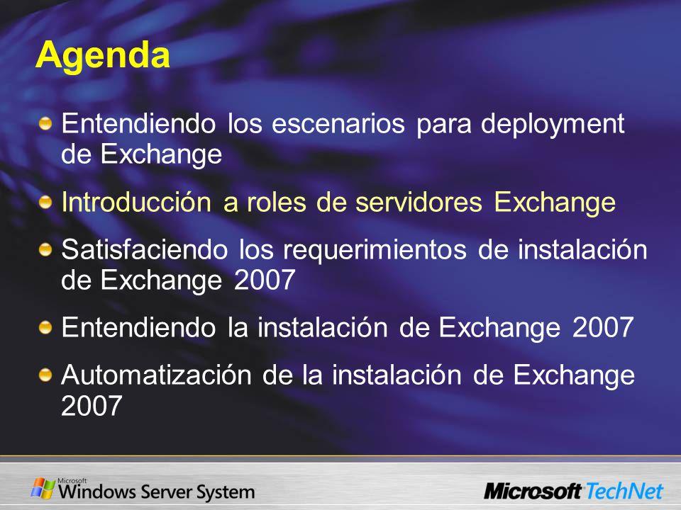 Agenda Entendiendo los escenarios para deployment de Exchange Introducción a roles de servidores Exchange Satisfaciendo los requerimientos de instalación de Exchange 2007 Entendiendo la instalación de Exchange 2007 Automatización de la instalación de Exchange 2007