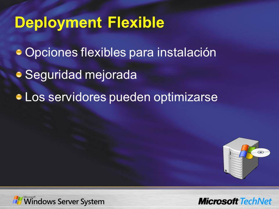 Deployment Flexible Opciones flexibles para instalación Seguridad mejorada Los servidores pueden optimizarse