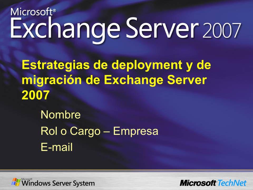 Estrategias de deployment y de migración de Exchange Server 2007 Nombre Rol o Cargo – Empresa E-mail
