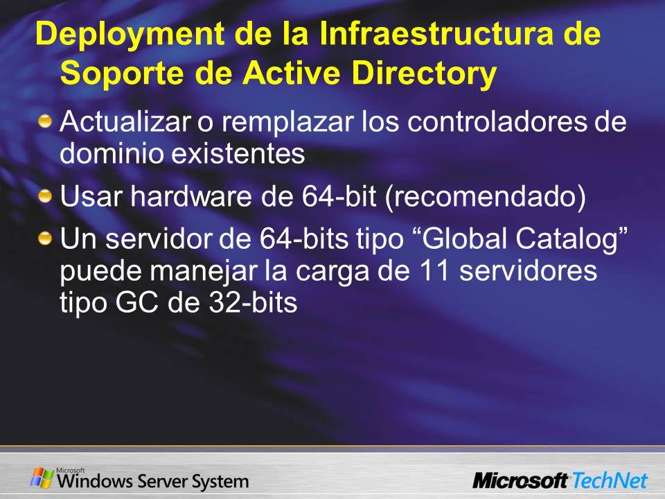 Deployment de la Infraestructura de Soporte de Active Directory Actualizar o remplazar los controladores de dominio existentes Usar hardware de 64-bit (recomendado) Un servidor de 64-bits tipo Global Catalog puede manejar la carga de 11 servidores tipo GC de 32-bits