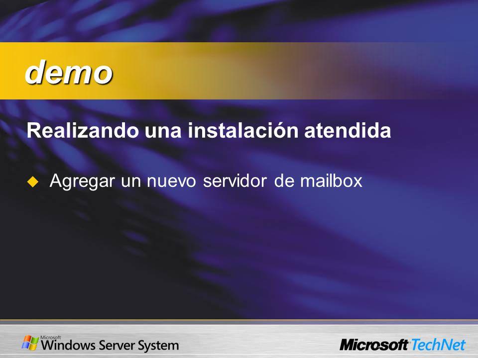 Realizando una instalación atendida Agregar un nuevo servidor de mailbox demo demo