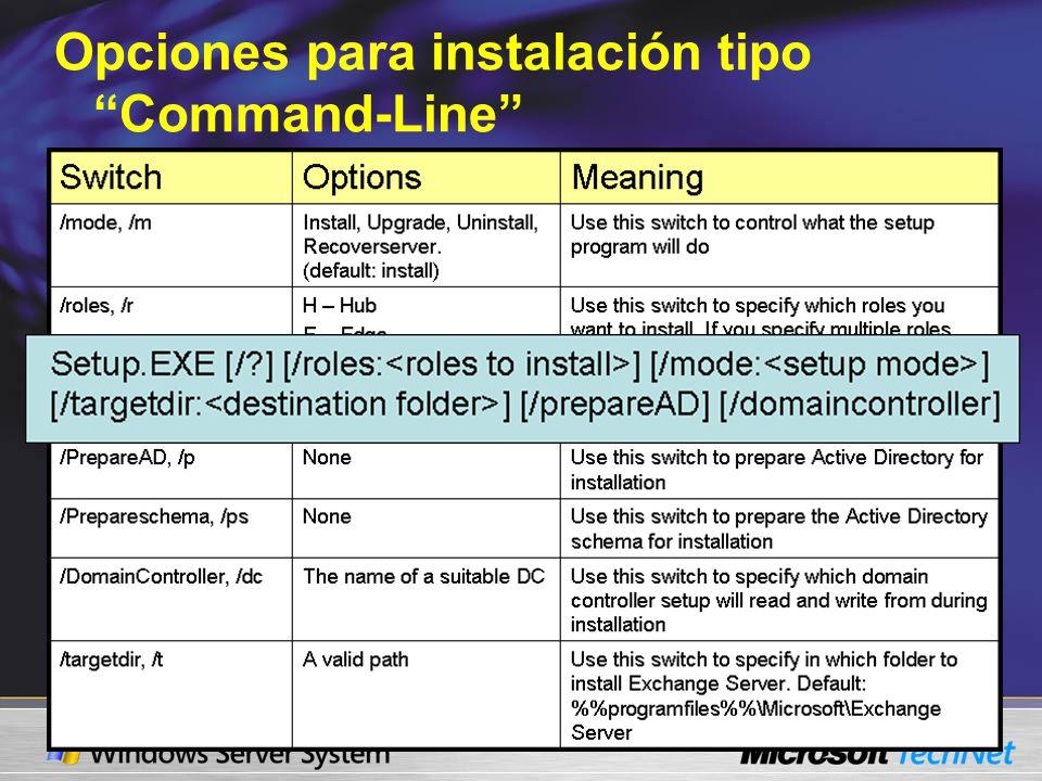 Opciones para instalación tipo Command-Line