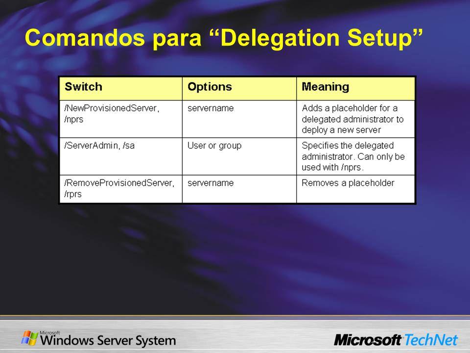 Comandos para Delegation Setup