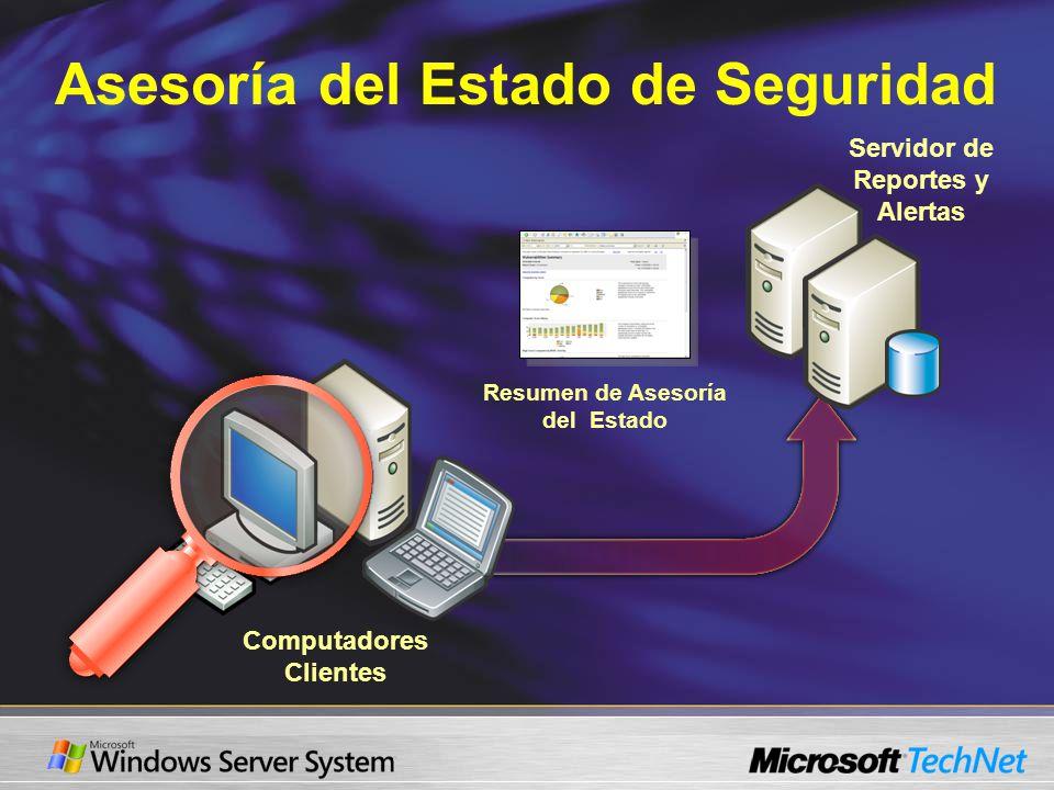 Asesoría del Estado de Seguridad Servidor de Reportes y Alertas Resumen de Asesoría del Estado Computadores Clientes