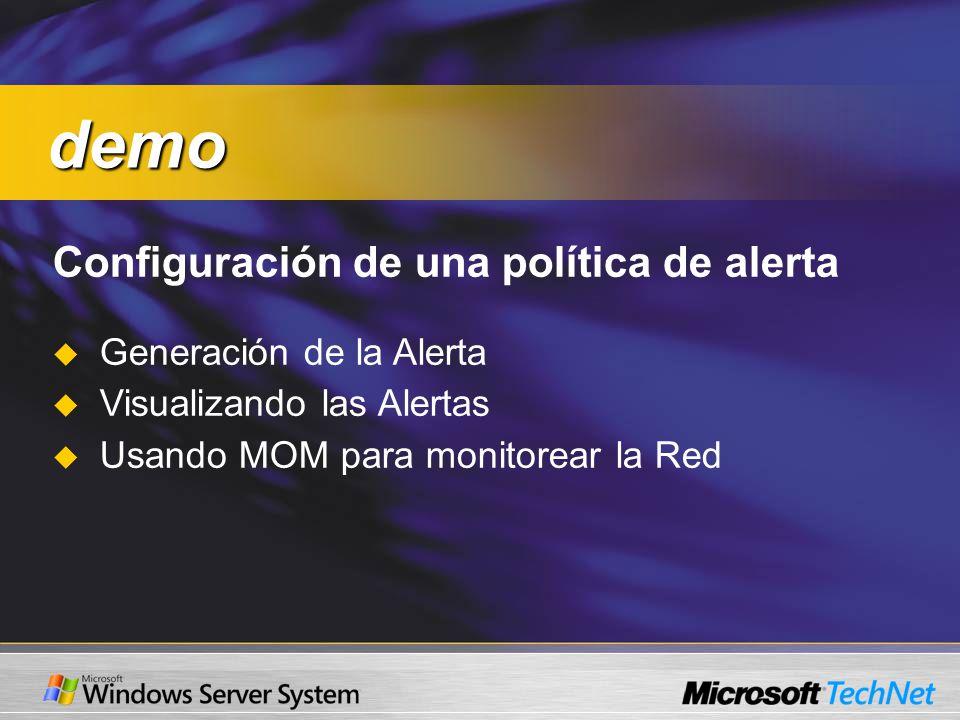 Configuración de una política de alerta Generación de la Alerta Visualizando las Alertas Usando MOM para monitorear la Red demo demo