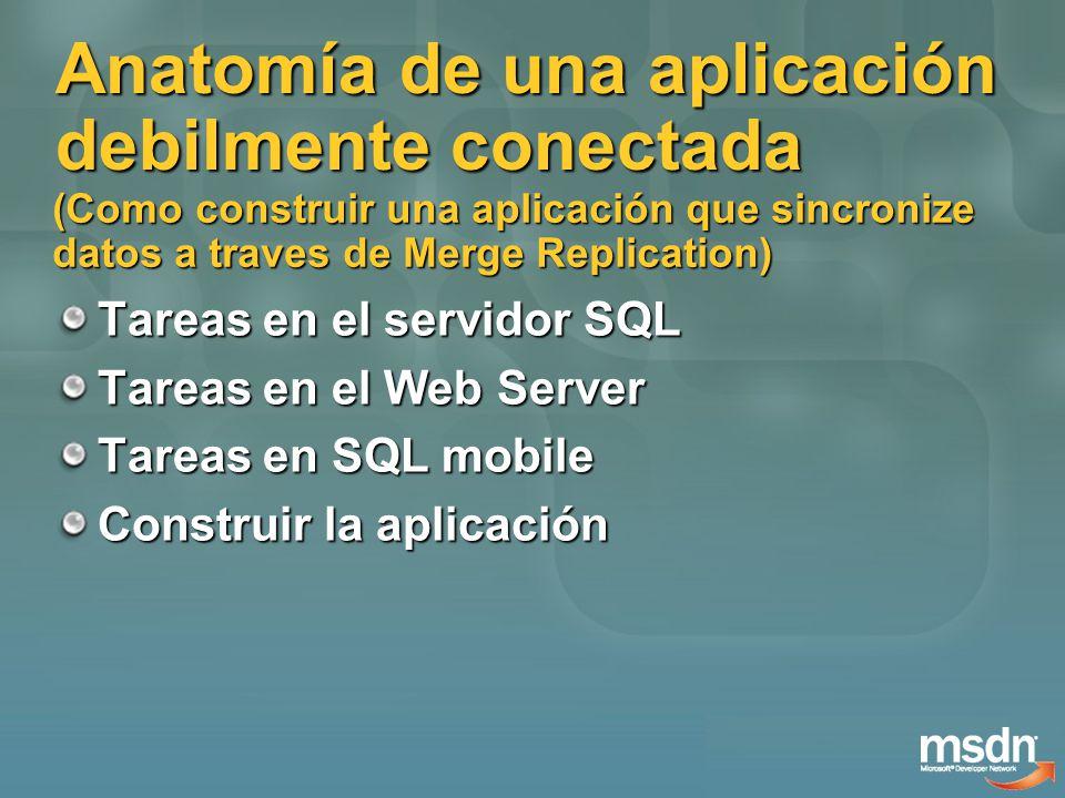Anatomía de una aplicación debilmente conectada Tareas en el servidor SQL Tareas en el Web Server Tareas en SQL mobile Construir la aplicación (Como construir una aplicación que sincronize datos a traves de Merge Replication)