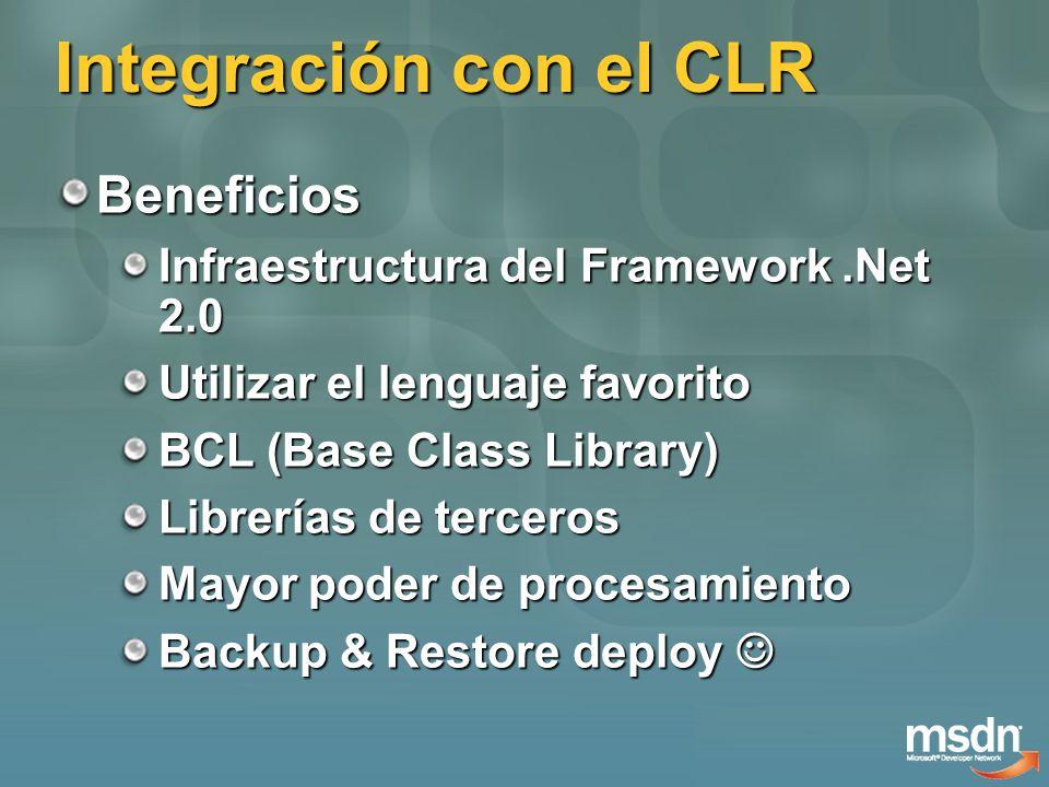 Integración con el CLR Beneficios Infraestructura del Framework.Net 2.0 Utilizar el lenguaje favorito BCL (Base Class Library) Librerías de terceros Mayor poder de procesamiento Backup & Restore deploy Backup & Restore deploy