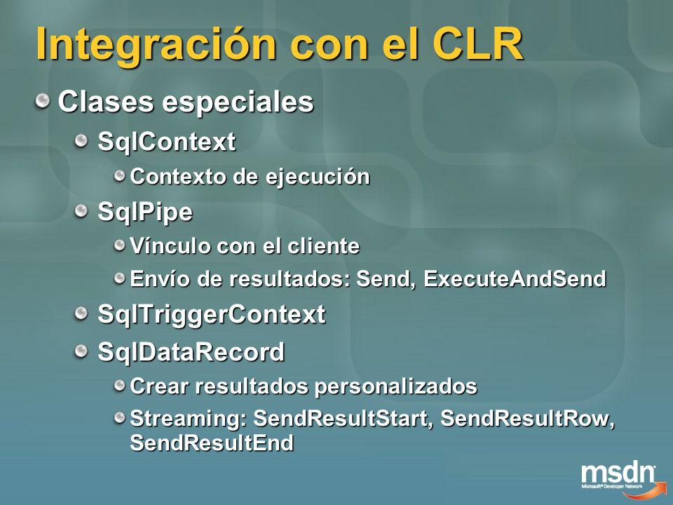 Integración con el CLR Seguridad exec sp_configure clr enabled , 1 Permisos para Assemblies SAFEEXTERNAL_ACCESSUNSAFE No es tan sencillo acceder a recursos externos ALTER DATABASE SET TRUSTWORTHY ON También previene: EXECUTE AS LOGIN