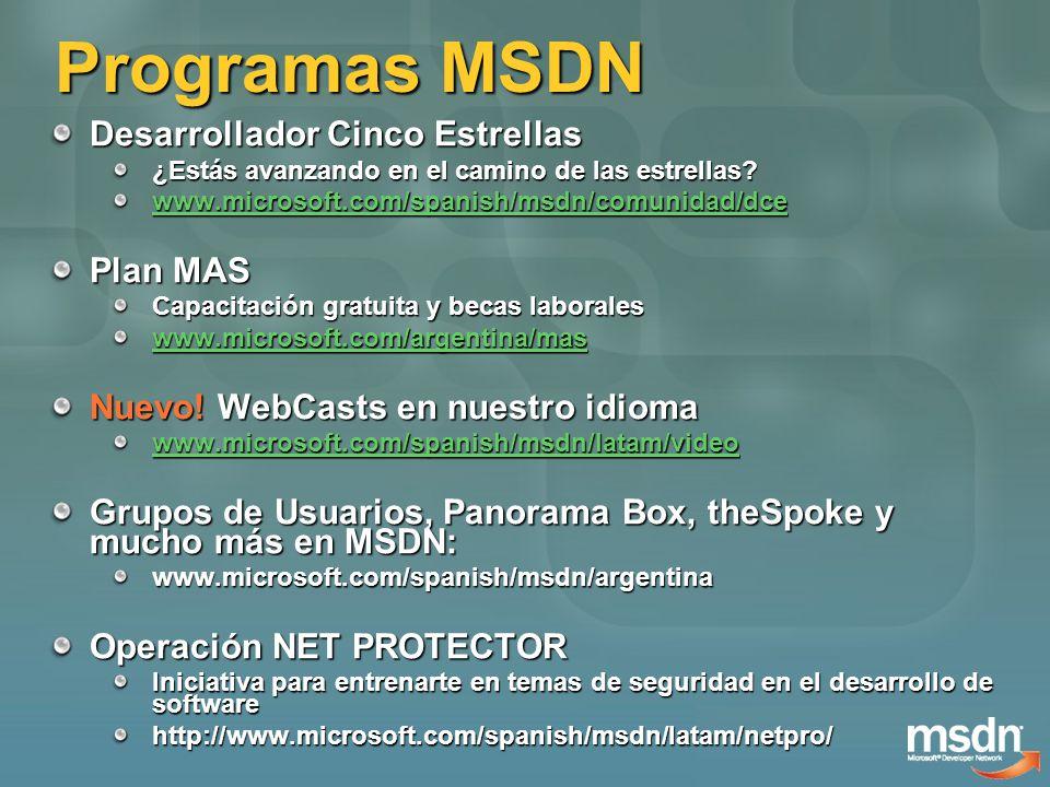 Programas MSDN Desarrollador Cinco Estrellas ¿Estás avanzando en el camino de las estrellas? www.microsoft.com/spanish/msdn/comunidad/dce Plan MAS Cap
