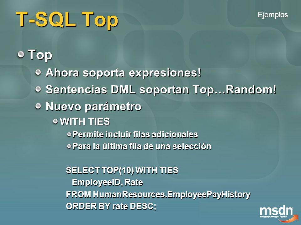 T-SQL Nuevas funciones Nuevas funciones para Rankings OVER([ ] ) OVER([ ] ) RANK() y DENSE_RANK() Crear rankings Agrupando y ordenando RANK() deja huecos NTILE(<expression>) Distribución en grupos ROW_NUMBER() No mas inventos para paginar desde el servidor No mas inventos para paginar desde el servidor Ejemplos