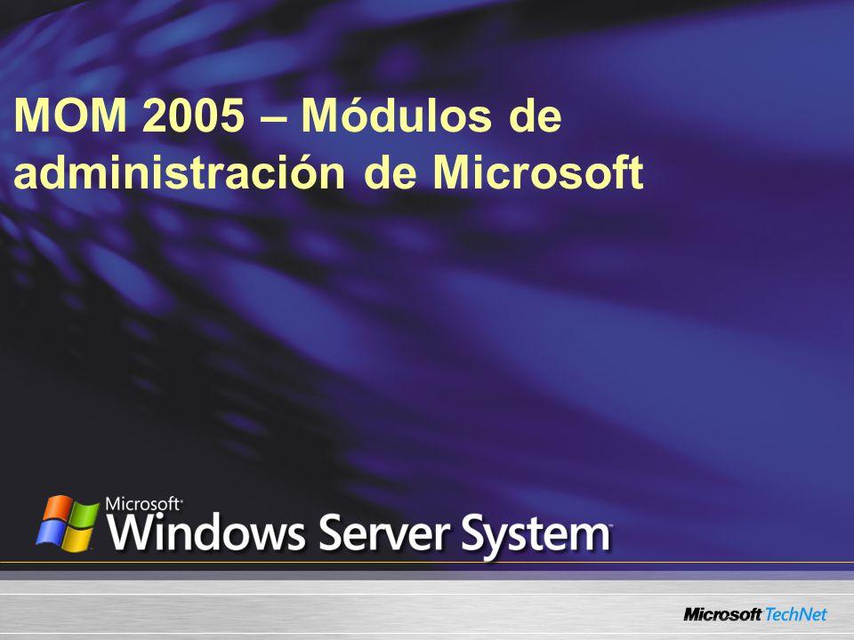 Lo que vamos a cubrir Descripción general de la arquitectura de Microsoft® Operations Manager (MOM) 2005 ¿Qué son los módulos de administración o módulos de administración.