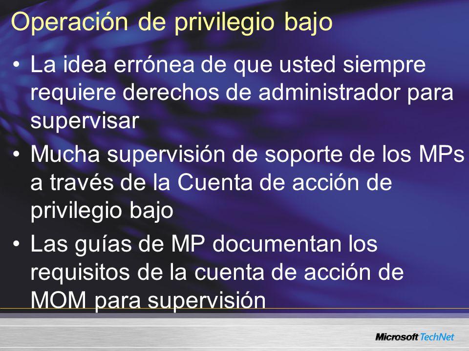 Operación de privilegio bajo La idea errónea de que usted siempre requiere derechos de administrador para supervisar Mucha supervisión de soporte de los MPs a través de la Cuenta de acción de privilegio bajo Las guías de MP documentan los requisitos de la cuenta de acción de MOM para supervisión