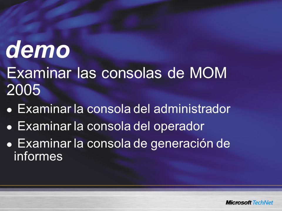 Demo Examinar las consolas de MOM 2005 Examinar la consola del administrador Examinar la consola del operador Examinar la consola de generación de informes demo