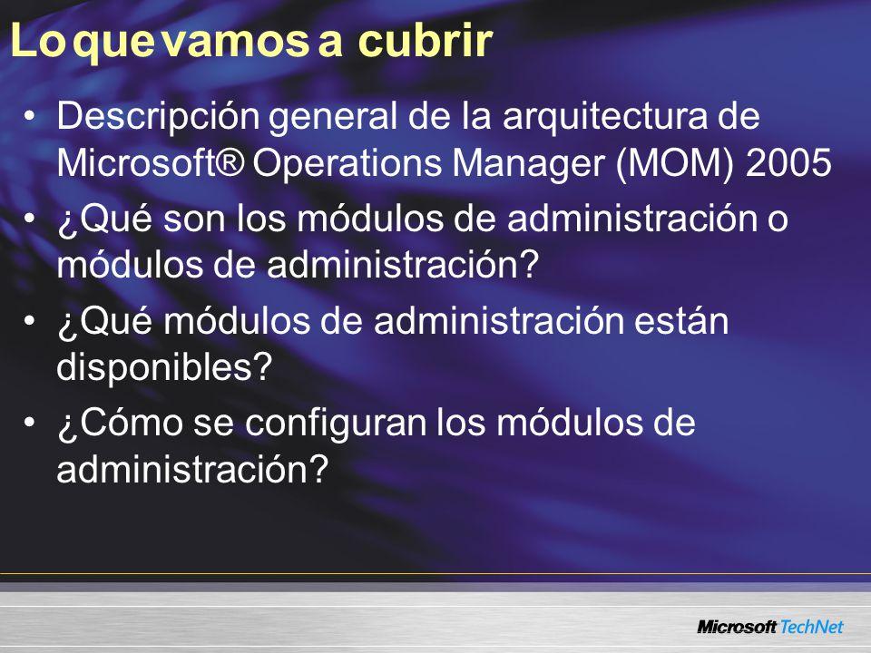 Experiencia útil Comprensión básica de MOM Comprensión básica de los conceptos de administración de sistemas Experiencia de la administración de operaciones NIVEL 200