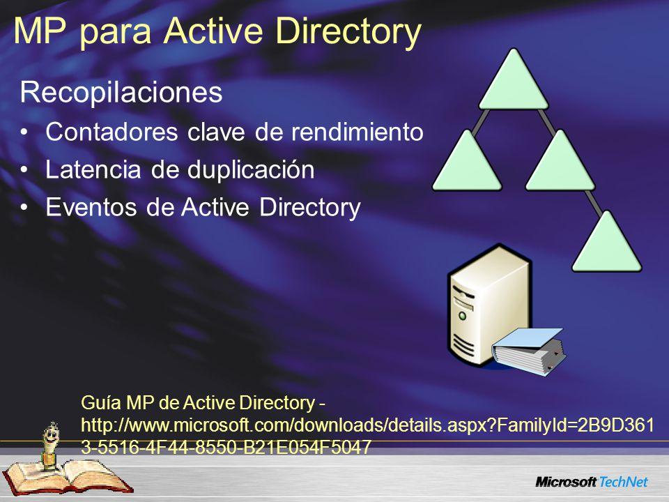 Recopilaciones Contadores clave de rendimiento Latencia de duplicación Eventos de Active Directory MP para Active Directory Guía MP de Active Directory - http://www.microsoft.com/downloads/details.aspx?FamilyId=2B9D361 3-5516-4F44-8550-B21E054F5047