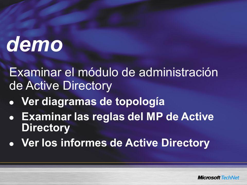 Demo Examinar el módulo de administración de Active Directory Ver diagramas de topología Examinar las reglas del MP de Active Directory Ver los informes de Active Directory demo