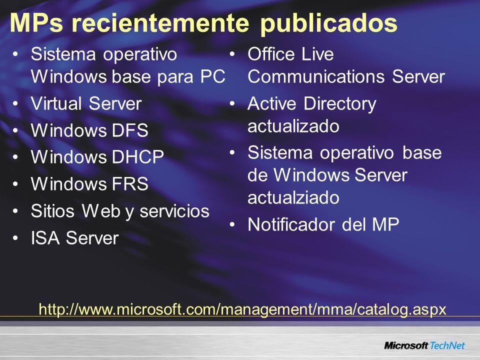 MPs recientemente publicados Sistema operativo Windows base para PC Virtual Server Windows DFS Windows DHCP Windows FRS Sitios Web y servicios ISA Server Office Live Communications Server Active Directory actualizado Sistema operativo base de Windows Server actualziado Notificador del MP http://www.microsoft.com/management/mma/catalog.aspx