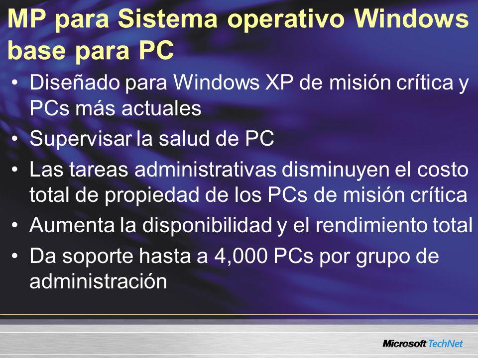 MP para Sistema operativo Windows base para PC Diseñado para Windows XP de misión crítica y PCs más actuales Supervisar la salud de PC Las tareas administrativas disminuyen el costo total de propiedad de los PCs de misión crítica Aumenta la disponibilidad y el rendimiento total Da soporte hasta a 4,000 PCs por grupo de administración