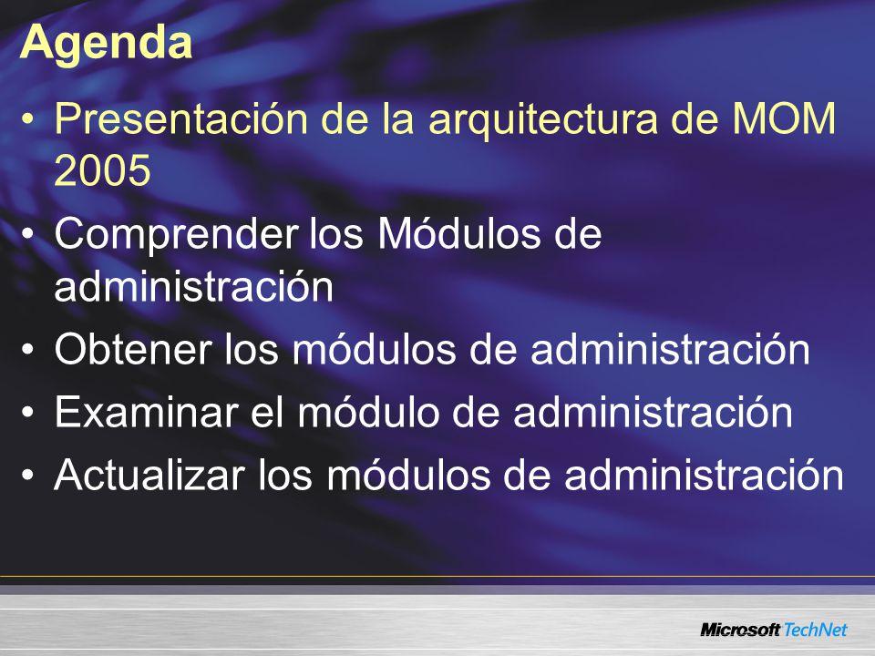 Arquitectura de MOM 2005 Almacén de datos centrales del sistema Base de datos de MOM 2005 Servidor de MOM 2005 Agentes de MOM 2005 Base de datos Almacén de datos centrales del sistema Generación de informes Consola Ops Consola de administración Consola Web MOM Server Agentes