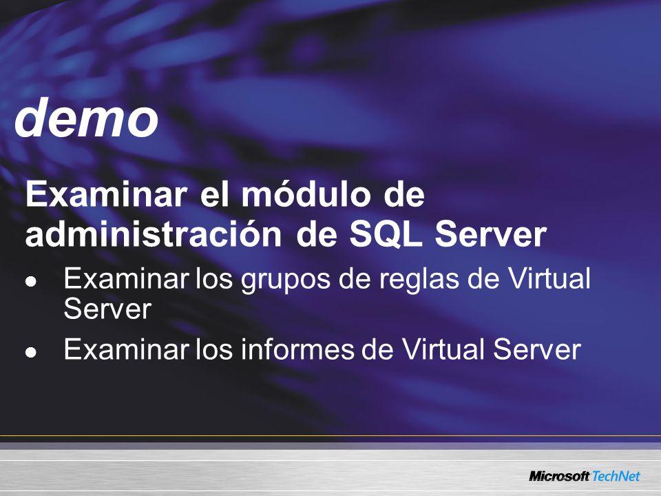 Demo Examinar el módulo de administración de SQL Server Examinar los grupos de reglas de Virtual Server Examinar los informes de Virtual Server demo