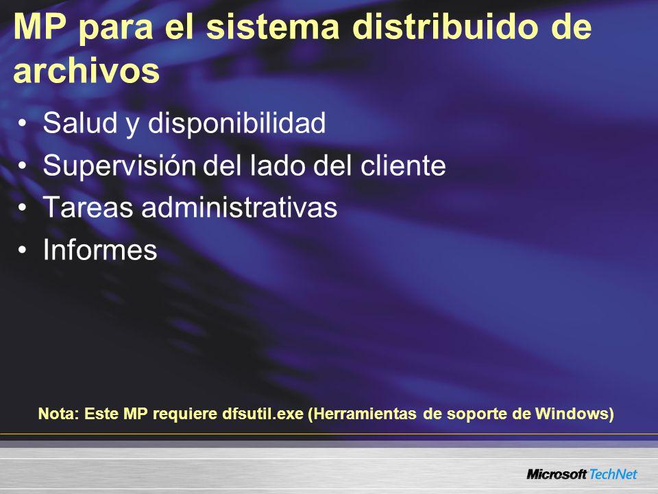 MP para el sistema distribuido de archivos Salud y disponibilidad Supervisión del lado del cliente Tareas administrativas Informes Nota: Este MP requiere dfsutil.exe (Herramientas de soporte de Windows)
