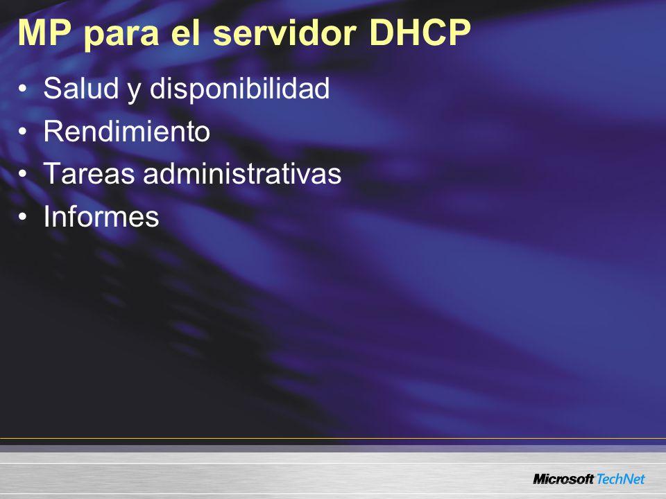 MP para el servidor DHCP Salud y disponibilidad Rendimiento Tareas administrativas Informes