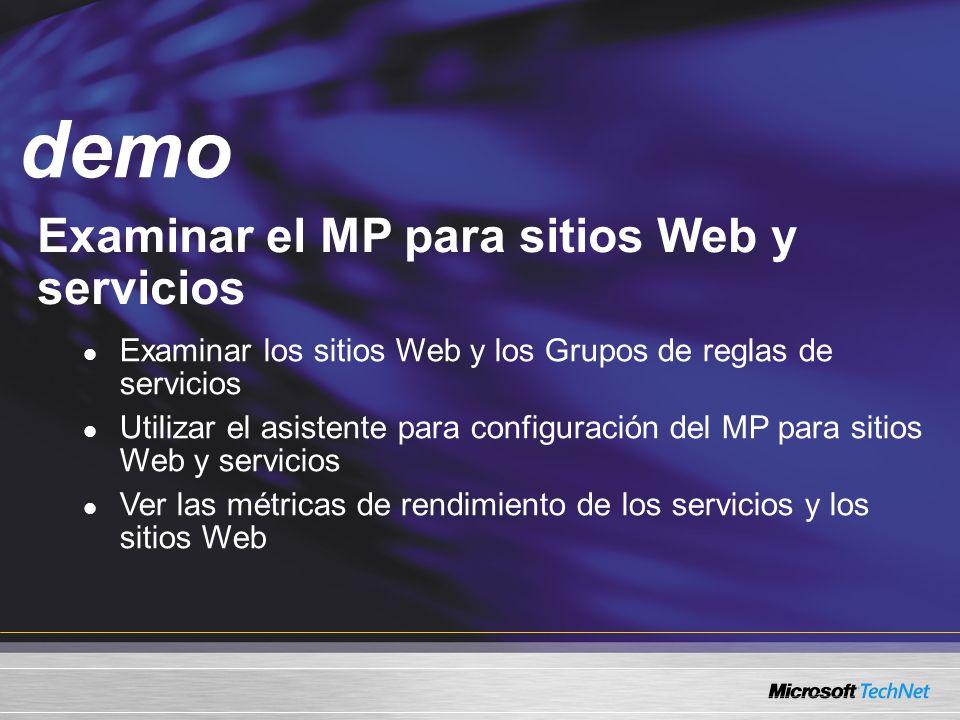 Demo Examinar el MP para sitios Web y servicios demo Examinar los sitios Web y los Grupos de reglas de servicios Utilizar el asistente para configuración del MP para sitios Web y servicios Ver las métricas de rendimiento de los servicios y los sitios Web