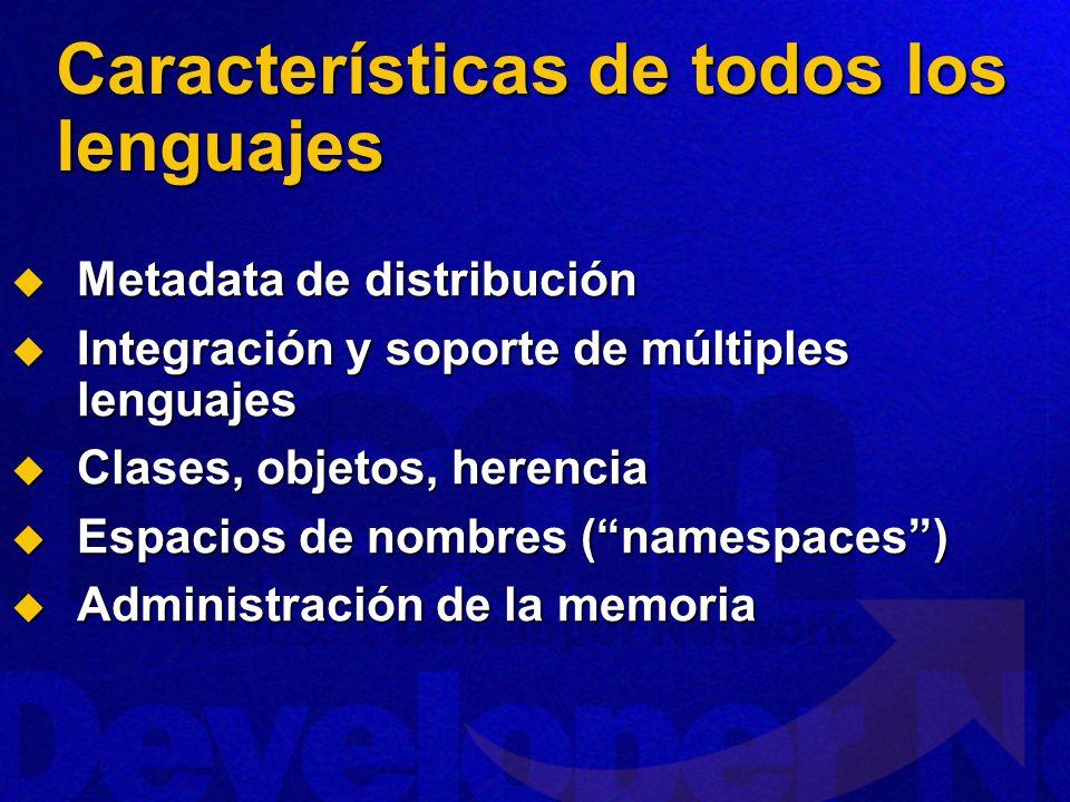 Características de todos los lenguajes Metadata de distribución Metadata de distribución Integración y soporte de múltiples lenguajes Integración y soporte de múltiples lenguajes Clases, objetos, herencia Clases, objetos, herencia Espacios de nombres (namespaces) Espacios de nombres (namespaces) Administración de la memoria Administración de la memoria