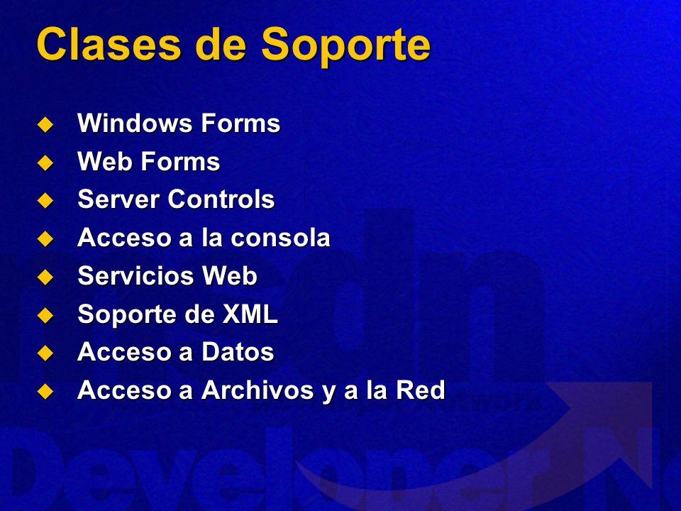 Clases de Soporte Windows Forms Windows Forms Web Forms Web Forms Server Controls Server Controls Acceso a la consola Acceso a la consola Servicios Web Servicios Web Soporte de XML Soporte de XML Acceso a Datos Acceso a Datos Acceso a Archivos y a la Red Acceso a Archivos y a la Red