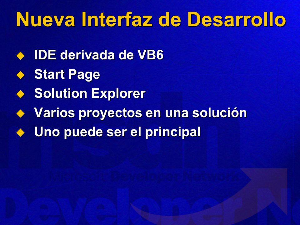 Nueva Interfaz de Desarrollo IDE derivada de VB6 IDE derivada de VB6 Start Page Start Page Solution Explorer Solution Explorer Varios proyectos en una solución Varios proyectos en una solución Uno puede ser el principal Uno puede ser el principal