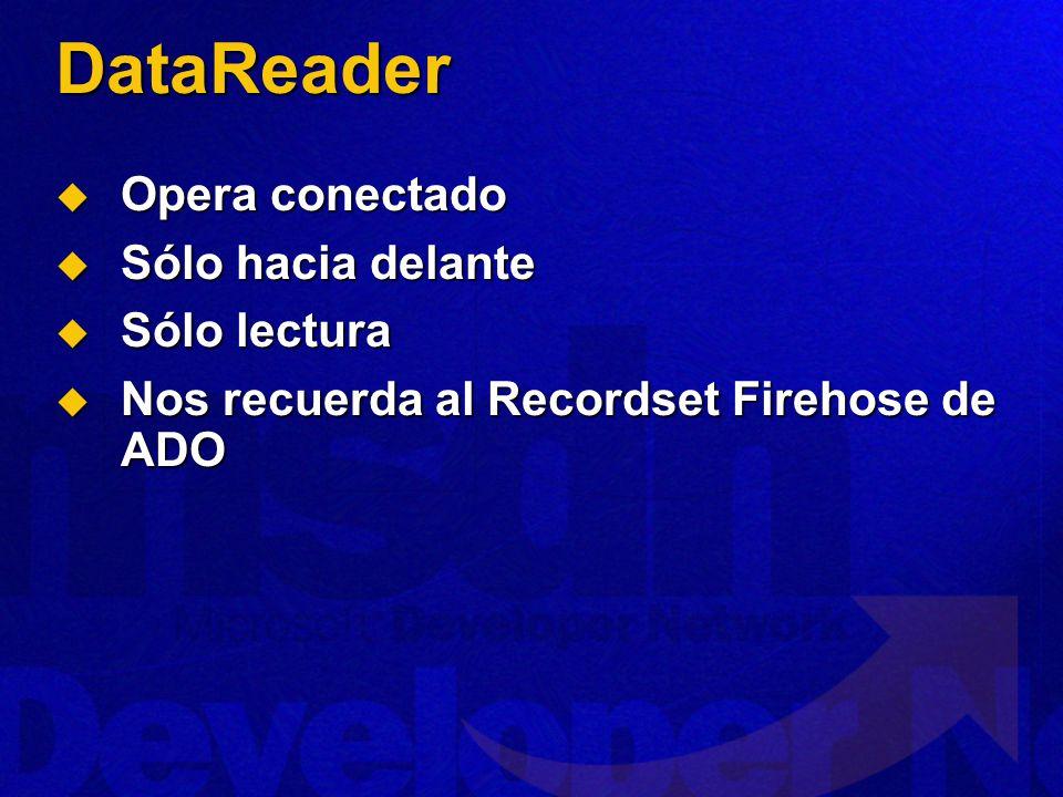 DataReader Opera conectado Opera conectado Sólo hacia delante Sólo hacia delante Sólo lectura Sólo lectura Nos recuerda al Recordset Firehose de ADO Nos recuerda al Recordset Firehose de ADO