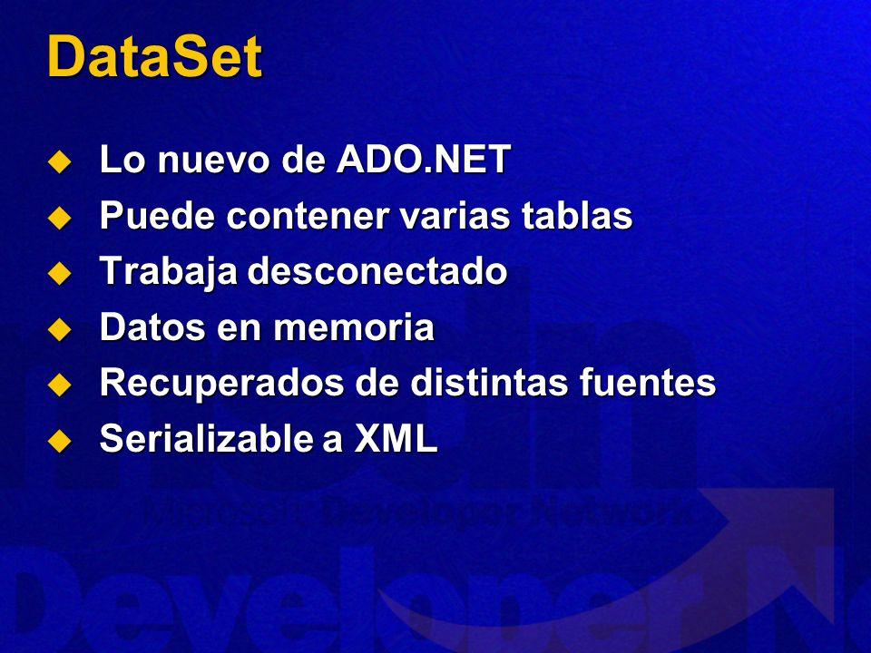 DataSet Lo nuevo de ADO.NET Lo nuevo de ADO.NET Puede contener varias tablas Puede contener varias tablas Trabaja desconectado Trabaja desconectado Datos en memoria Datos en memoria Recuperados de distintas fuentes Recuperados de distintas fuentes Serializable a XML Serializable a XML