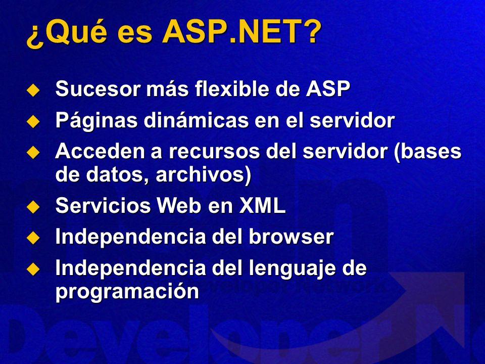 ¿Qué es ASP.NET? Sucesor más flexible de ASP Sucesor más flexible de ASP Páginas dinámicas en el servidor Páginas dinámicas en el servidor Acceden a r