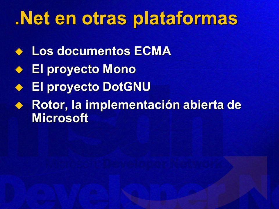 .Net en otras plataformas Los documentos ECMA Los documentos ECMA El proyecto Mono El proyecto Mono El proyecto DotGNU El proyecto DotGNU Rotor, la implementación abierta de Microsoft Rotor, la implementación abierta de Microsoft