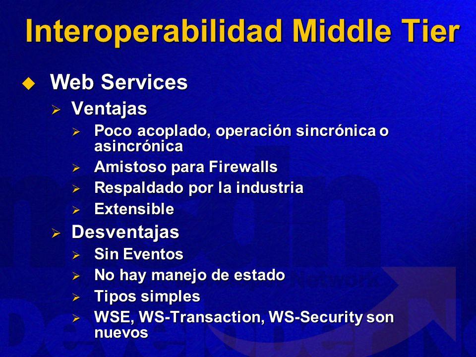 Interoperabilidad Middle Tier Web Services Web Services Ventajas Ventajas Poco acoplado, operación sincrónica o asincrónica Poco acoplado, operación sincrónica o asincrónica Amistoso para Firewalls Amistoso para Firewalls Respaldado por la industria Respaldado por la industria Extensible Extensible Desventajas Desventajas Sin Eventos Sin Eventos No hay manejo de estado No hay manejo de estado Tipos simples Tipos simples WSE, WS-Transaction, WS-Security son nuevos WSE, WS-Transaction, WS-Security son nuevos