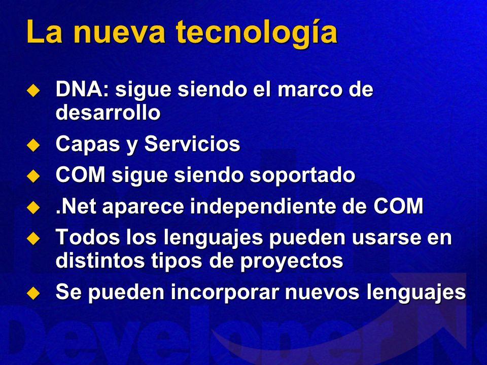 La nueva tecnología DNA: sigue siendo el marco de desarrollo DNA: sigue siendo el marco de desarrollo Capas y Servicios Capas y Servicios COM sigue si