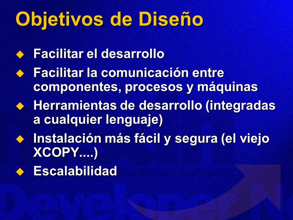 Objetivos de Diseño Facilitar el desarrollo Facilitar el desarrollo Facilitar la comunicación entre componentes, procesos y máquinas Facilitar la comu