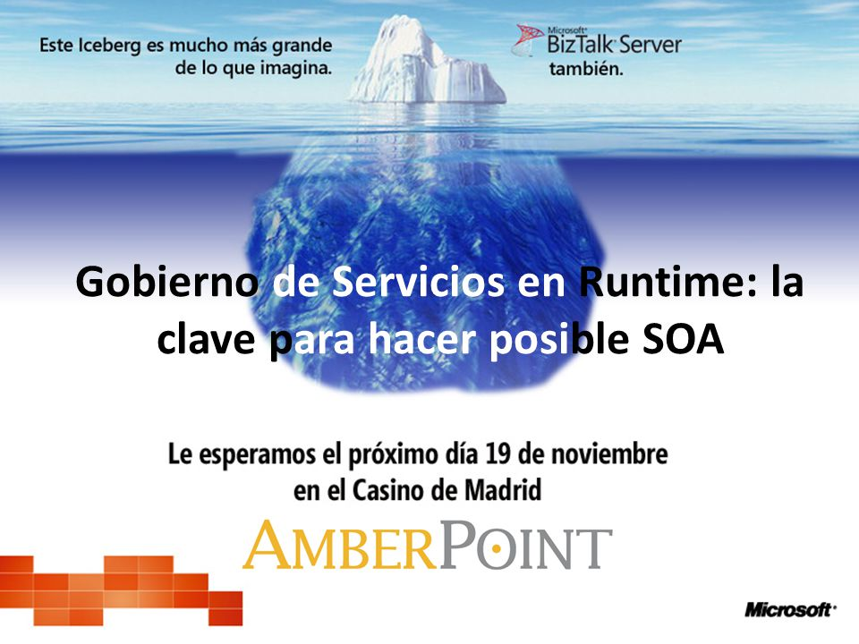 32 AmberPoint AmberPoint Runtime Repository Policy System Results Runtime Governance Electronic Orders Electronic Orders Warehouse Shipping (partner) Shipping (partner) Order eCommerce System eCommerce System Credit ESB Credit Security AuthN Monitoring Load-Bal Round-Robin Logging En lugar de administrar políticas individualmente… Gestión Centralizada Distribución Automática Gestión Políticas Centralizada