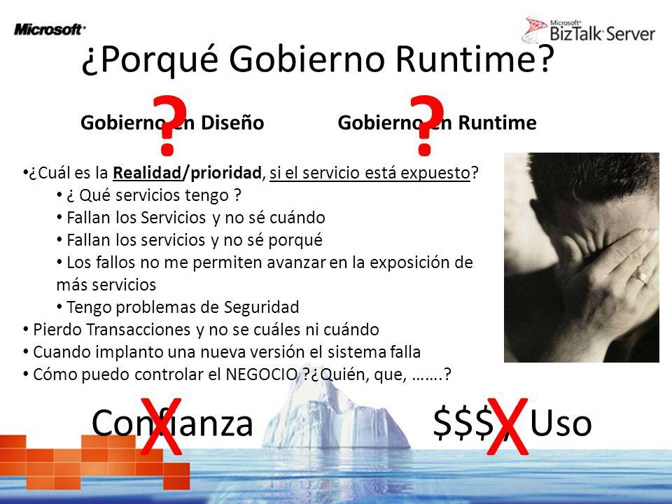 ¿Porqué Gobierno Runtime? Gobierno en Diseño ? Gobierno en Runtime ? ¿Cuál es la Realidad/prioridad, si el servicio está expuesto? ¿ Qué servicios ten