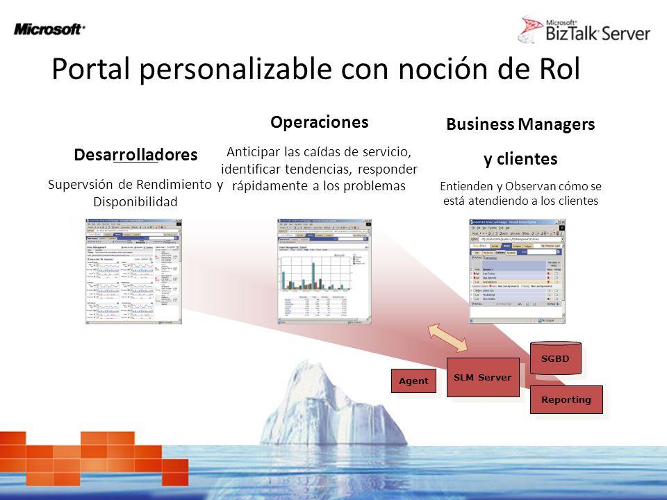 Portal personalizable con noción de Rol Desarrolladores Supervsión de Rendimiento y Disponibilidad Operaciones Anticipar las caídas de servicio, ident