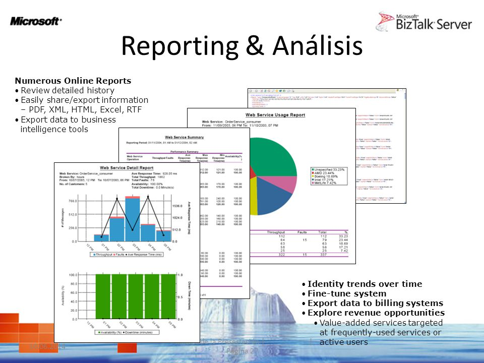 Reporting & Análisis 10.06.2014 Nombre de la Presestación | | Página 27 Numerous Online Reports Review detailed history Easily share/export informatio