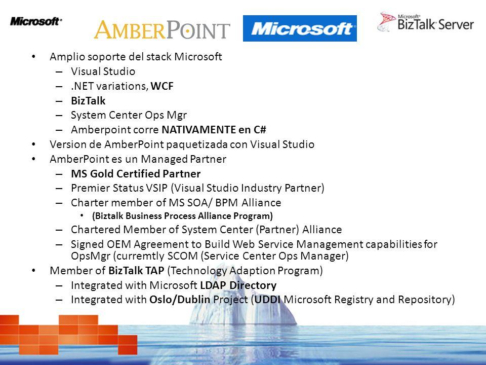 Amplio soporte del stack Microsoft – Visual Studio –.NET variations, WCF – BizTalk – System Center Ops Mgr – Amberpoint corre NATIVAMENTE en C# Versio